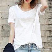 2018夏歐美新款純色竹節棉圓領顯瘦短袖t恤女白色體恤 晴天時尚館