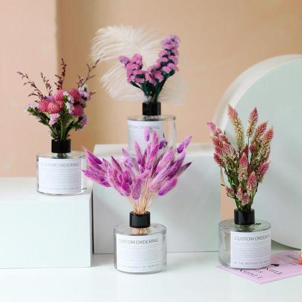 滿天星木棉花尤加利葉網紅永生花瓶真花ins干花花束裝飾擺件桌面居享優品