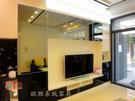 【系統家具】美觀電視牆-鏡面夾鋁框吊櫃