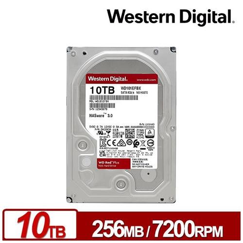 WD 威騰 10TB 3.5吋 紅標 Plus 256M快取 5400轉 NAS專用 內接硬碟 WD101EFBX