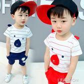 童裝2018夏裝新款中小男童套裝1-3-5歲寶寶純棉短袖休閒兩件套潮-Ifashion
