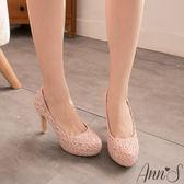 Ann'S絕美氣質.獨家訂製款bling蕾絲新娘跟鞋*粉