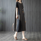 棉麻條紋拼接洋裝-中大尺碼 獨具衣格 J3011