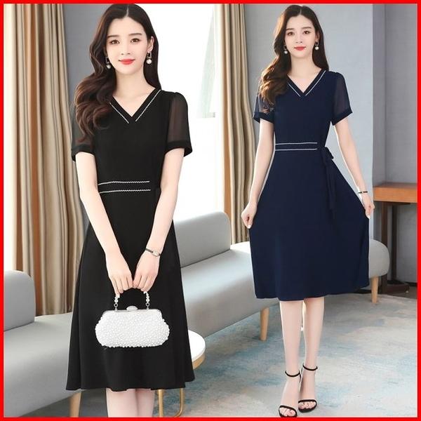 韓國風短袖洋裝 雪紡連衣裙氣質顯瘦復古連身裙 依多多