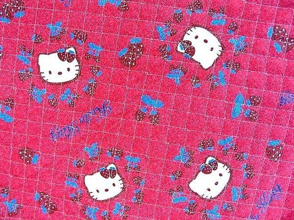 asdfkitty可愛家☆展示品出清-KITTY草莓版DIY布料-夾棉布料-109*120公分-日本製