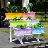 花盆長方形種菜盆塑料長條盆蔬菜陽台種植箱加厚塑料特大花盆托盤 樂活生活館