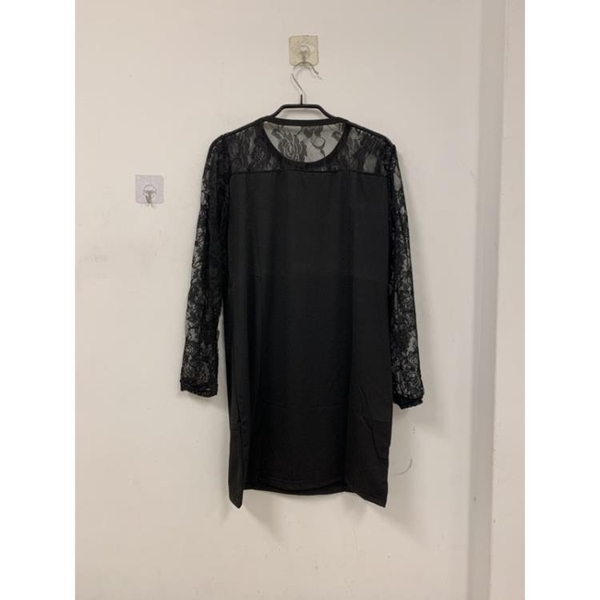韓版透膚氣質蕾絲基本款長袖洋裝(4XL號/777-6294)