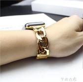 錶帶 適配蘋果Apple watch iWatch1/2/3/4手錶單排不銹鋼鍊式金屬錶帶 芊惠衣屋