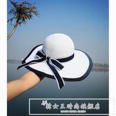 復古黑白大沿遮陽帽子 英倫學院風草編帽女士 沙灘大沿太陽帽『韓女王』