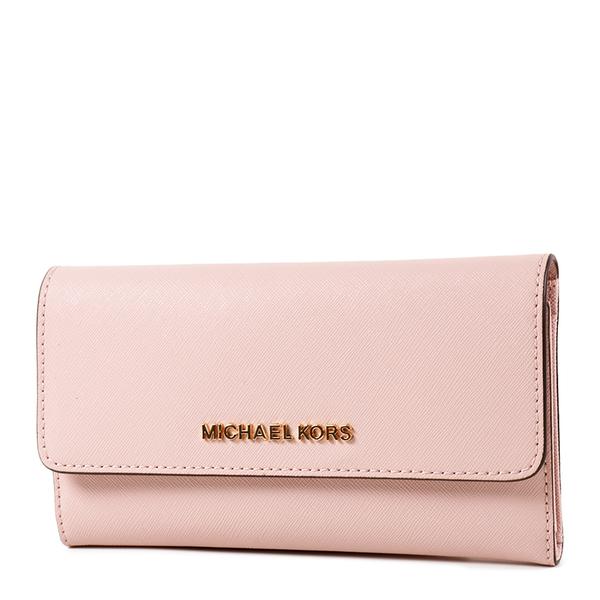 美國正品 MICHAEL KORS 專櫃款 素面防刮皮革三折長夾-嫩粉色【現貨】