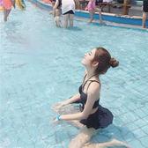 泳衣韓國小清新比基尼少女分體游泳衣女三件套溫泉性感高腰裙式小香風 曼莎時尚