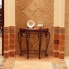 麥花家具 歐式鐵藝半圓桌 進門入戶玄關桌現代簡約玄關台美式邊桌  一米陽光