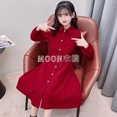 女童洋裝2021新款春款中大童休閒洋氣收腰顯瘦新年紅色長裙子 母親節特惠