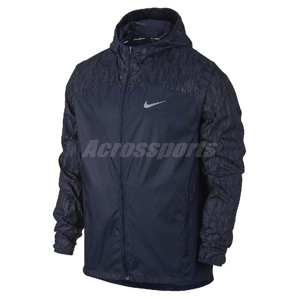Nike 防風外套 Shield Flash Jacket Hoodie Racer 深藍 3M 反光 連帽夾克 男款 【PUMP306】 800896-410