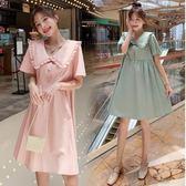 初心 韓系 洋裝 【D8298】 清新 翻領 高腰 韓國 質感 短袖 洋裝 娃娃裝