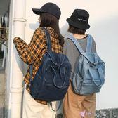 牛仔布包高中學生潮背包學院風簡約牛仔帆布後背包 時光之旅 免運