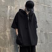 夏季正韓黑色上衣外套寬鬆短袖T恤連帽連帽T恤男女潮