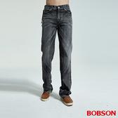 BOBSON 男款鬼爪刷白黑灰中直筒褲(1732-87)