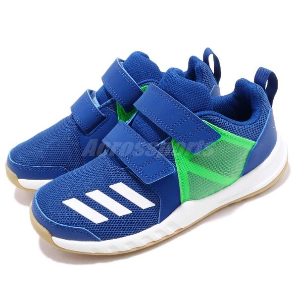 adidas 慢跑鞋 FortaGym CF K 藍 綠 緩震舒適 魔鬼氈 運動鞋 童鞋 中童鞋【PUMP306】 AH2562