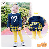 嬰幼兒蓬蓬裙 / 藍黃格紋蛋糕褲裙- 美國RuffleButts