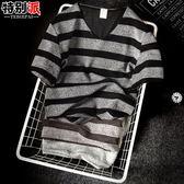 夏季男士t恤短袖V領韓版韓版修身條紋青少年小衫潮男裝學生半袖打底衫 【好康八五折】