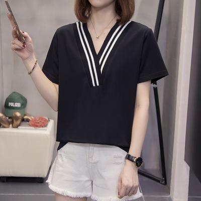 大碼短~609加寬松百搭簡約V領短袖t恤5F026 胖妞衣櫥