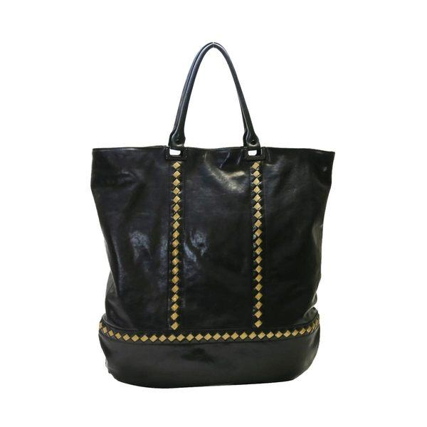 BOTTEGA VENETA BV黑色牛皮金屬編織綴飾手提肩背托特包 購物包【二手名牌 BRAND OFF】