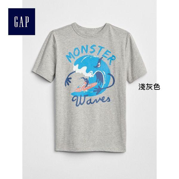Gap男童 妙趣圖案圓領短袖T恤 310527-淺灰色