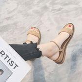 厚底楔形涼鞋女網紅腳胖寬腳原宿風百搭羅馬平底拖鞋兩穿 『米菲良品』