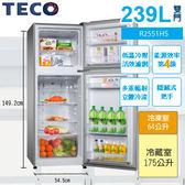 «免運費»TECO東元 239公升雙門冰箱 R2551HS【南霸天電器百貨】