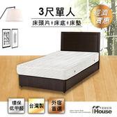 IHouse-經濟型房間組三件(床片+床底+獨立筒)-單人3尺白橡