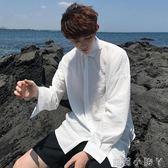 襯衫春秋款男士純色長袖薄潮流港風bf學生寬鬆白色襯衣男 蘿莉小腳ㄚ