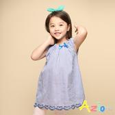 Azio 女童 上衣 領口鬆緊下擺刺繡細條紋長版短袖上衣(藍) Azio Kids 美國派 童裝