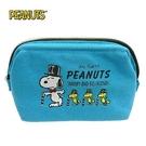 【日本正版】史努比 帆布 寬口 化妝包 收納包 Snoopy PEANUTS - 080963