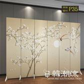 訂製       屏風隔斷裝飾現代簡約移動折疊中式玄關雙面布藝實木臥室客廳折屏