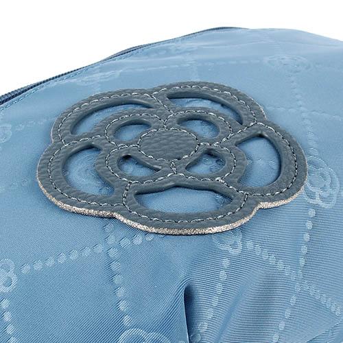 CLATHAS 山茶花吊飾菱格紋尼龍腰包(藍色)201005-82