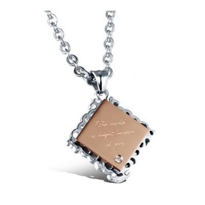 鈦鋼項鍊(一對)-戀愛方塊生日情人節禮物男女對鍊2色73cl70【時尚巴黎】