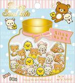Hamee 日本正版 San-X 拉拉熊 懶懶熊 糖果罐 立體造型 局部燙金貼紙 日記裝飾DIY (1.日常) SE32001