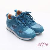 effie 心機美型 絨面真皮亮片綁帶奈米休閒鞋 藍