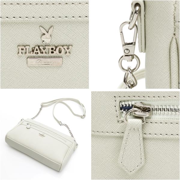 PLAYBOY- 斜背包 經典兔頭系列-白色
