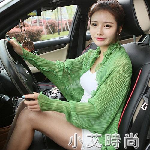 開車防曬披肩女夏季薄款外搭雪紡衣衫圍巾女絲巾防紫外線騎車神器 小艾新品