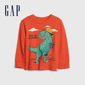Gap男幼童 創意風格印花圓領長袖T恤 617814-橘紅色