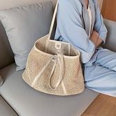 包包2021新款潮編織女包流行百搭ins腋下單肩包大容量草編托特包  霓裳細軟