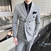 西服套裝男新款韓版雙排扣西服三件套休閒職業正裝套裝【邻家小鎮】