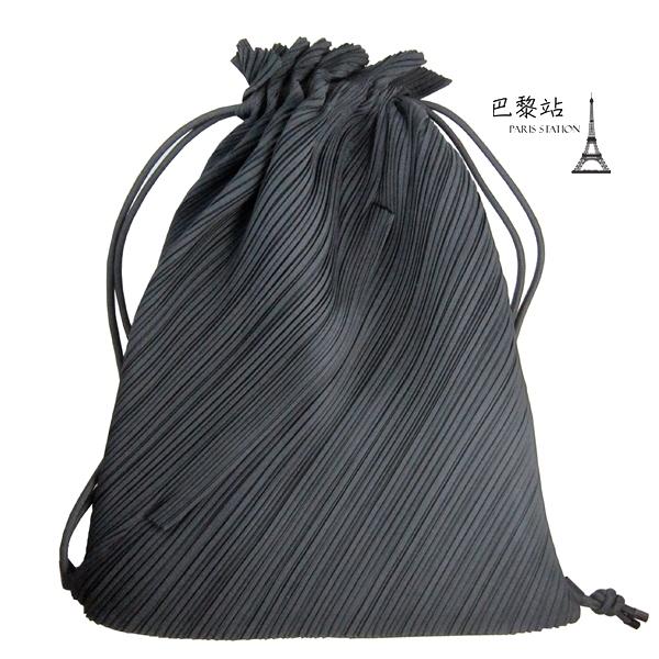 【巴黎站二手名牌專賣店】*現貨* 三宅一生 真品*PLEATS PLEASE黑色束口折紋後背包