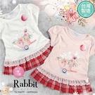 [台灣製造]台灣製~兔兔花朵拼接格紋竹節棉短袖上衣-2色(310094)【水娃娃時尚童裝】