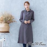 【Tiara Tiara】漢神秋冬 純棉綁帶長袖襯衫洋裝(素面/條紋)