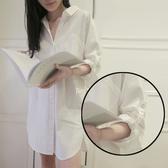 韓範中長款襯衫女夏長袖寬鬆大碼襯衣性感男朋友風睡衣上衣外穿
