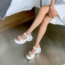 手工真皮女鞋35~41 2020歐美明星款頭層牛皮水鑽一字帶休閒厚底氣墊涼鞋,老爹高跟涼鞋~2色