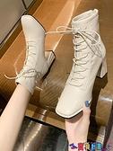 高跟短靴 馬丁靴女短靴2021新款韓版秋冬款英倫風百搭粗跟高跟鞋方頭靴子女 寶貝計畫